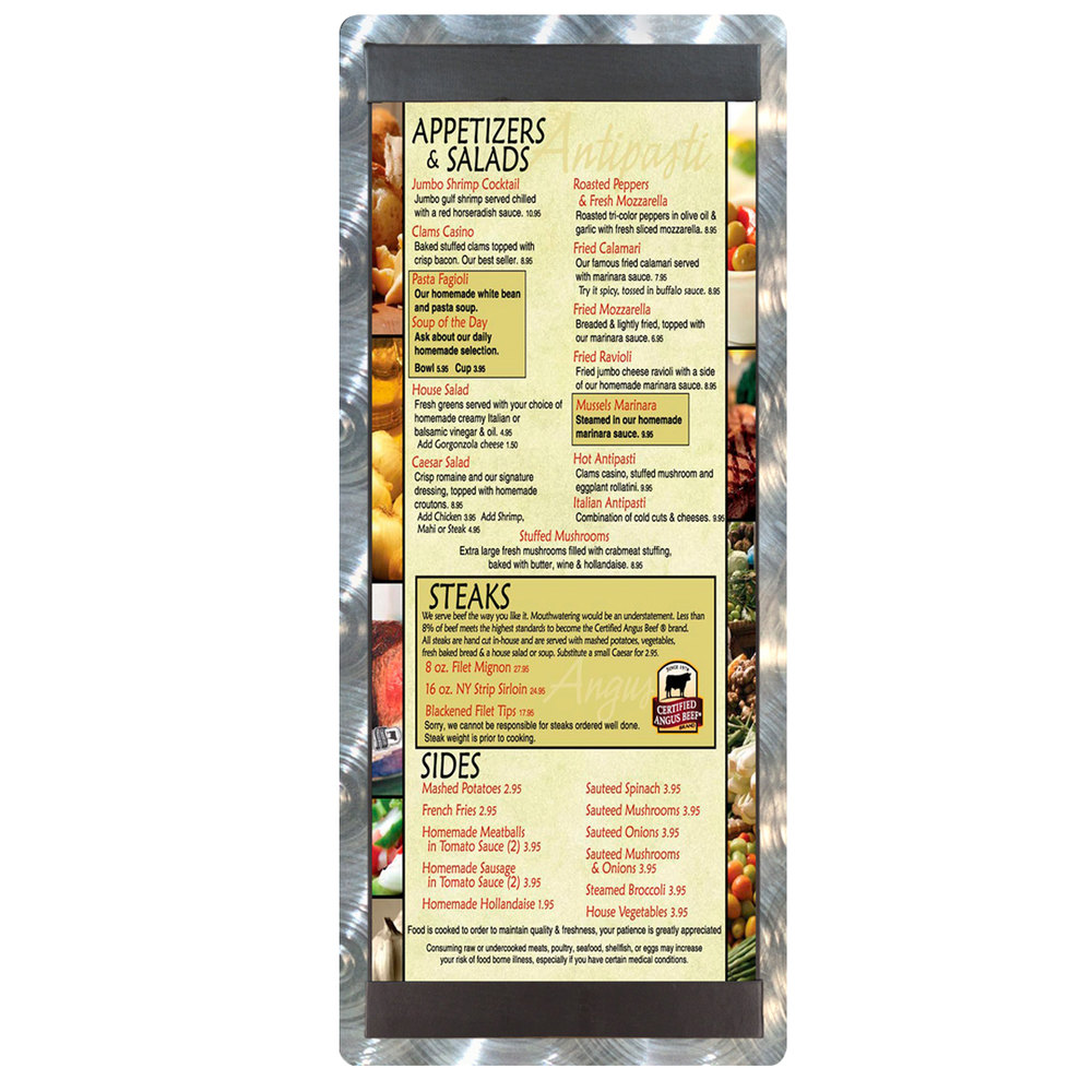 "4 1/4"" x 11"" Menu Solutions ALSIN41-ST Single Panel Swirl Finish Aluminum Menu Board with Top and Bottom Strips"