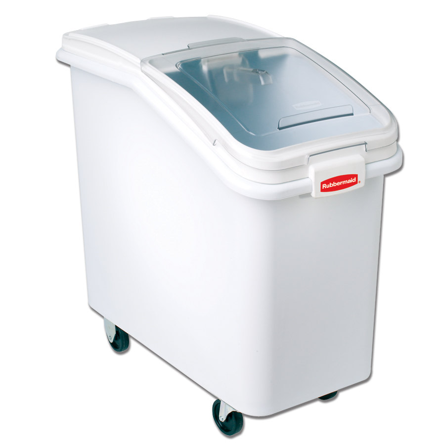 Rubbermaid FG360288WHT ProSave 30.81 Gallon Ingredient Storage Bin Slant Front with Sliding Lid