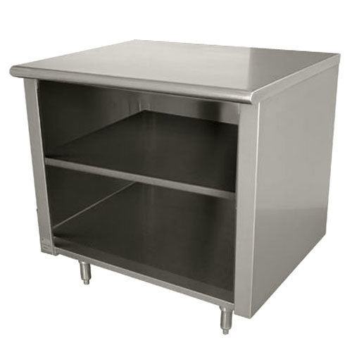 "Advance Tabco EB-SS-303M 30"" x 36"" 14 Gauge Open Front Cabinet Base Work Table with Fixed Mid Shelf"