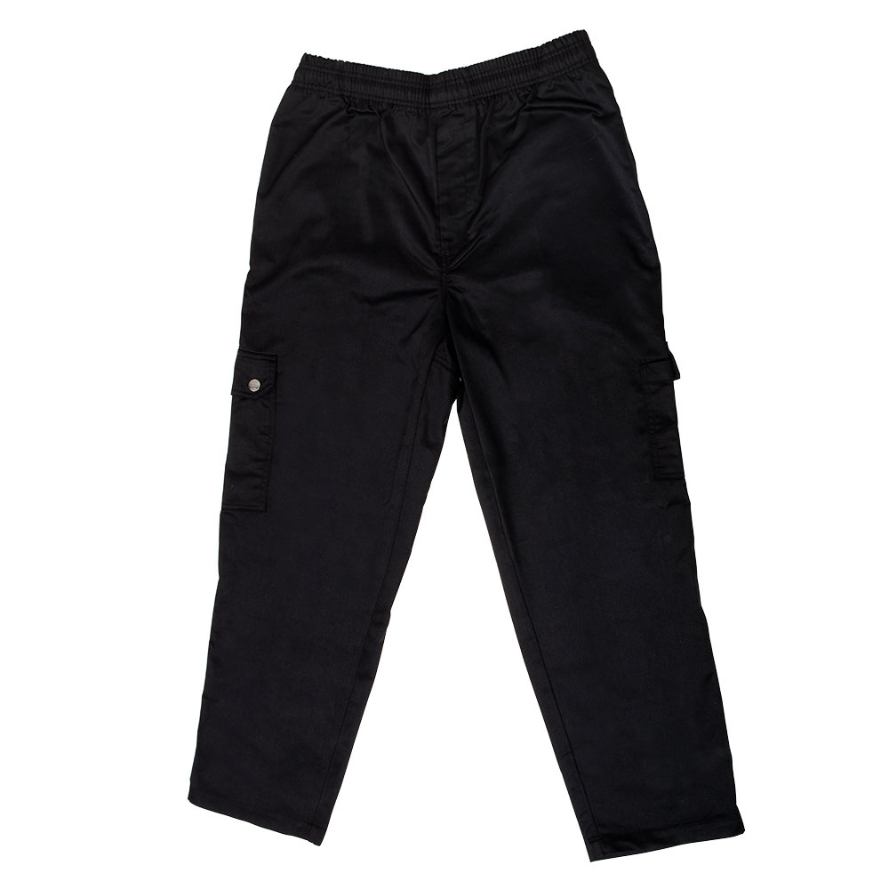 Chef Revival P024BK Size 2X Black Chef Cargo Pants - Poly-Cotton