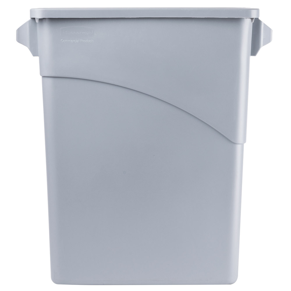 Rubbermaid fg354100lgray gray 15 8 gallon slim jim wall hugger trash can - Slim garbage cans for kitchen ...
