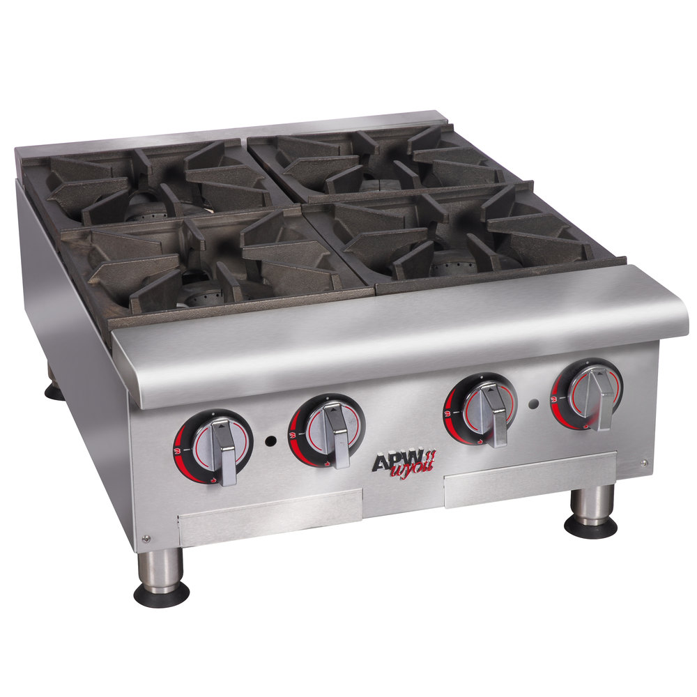 "APW Wyott HHPS-424 Heavy Duty 4 Burner Step-Up Countertop 24"" Range / Hot Plate - 120,000 BTU"
