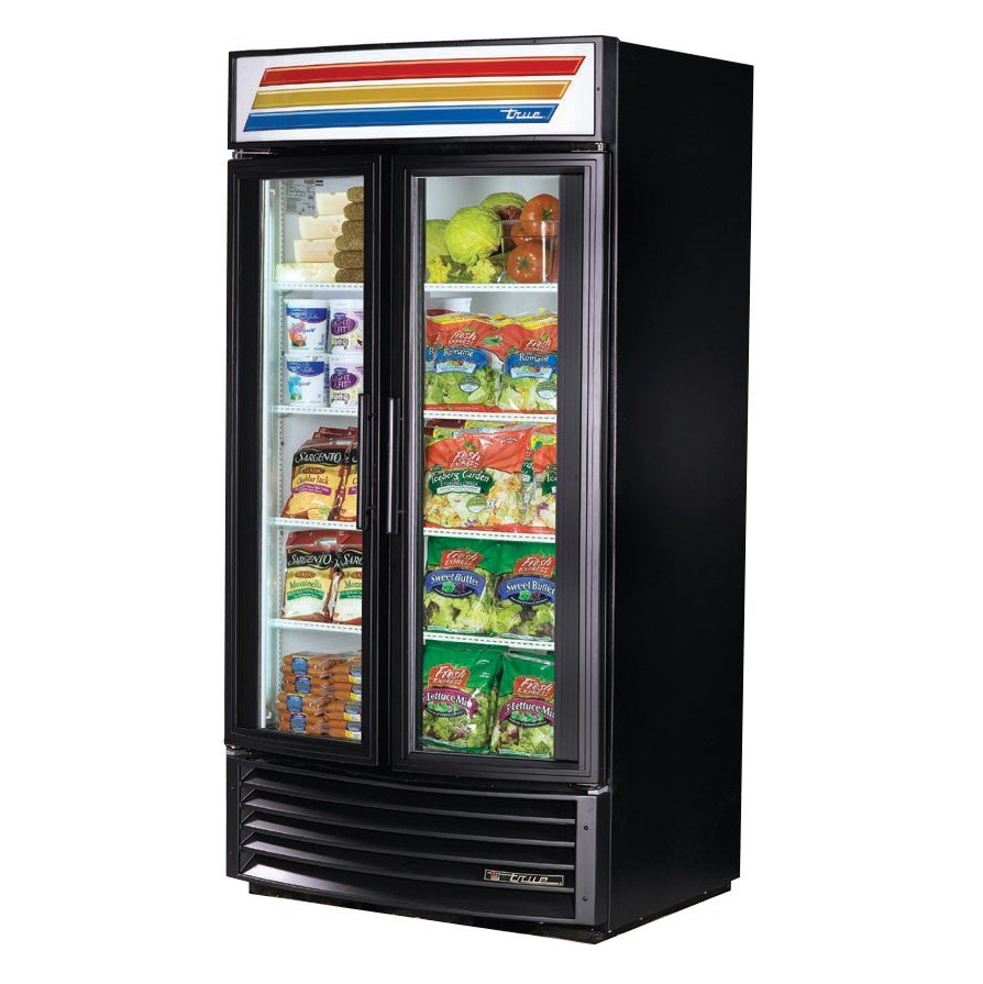 True GDM-35RF Black Radius Front Refrigerated Glass Door Merchandiser - 35 Cu. Ft.