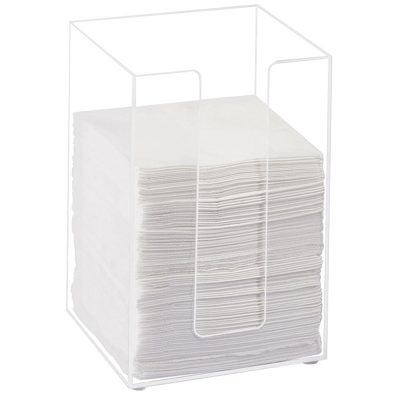 "Cal-Mil 635-12 Clear Acrylic Beverage Napkin Holder - 5 1/2"" x 5 1/2"" x 8"""