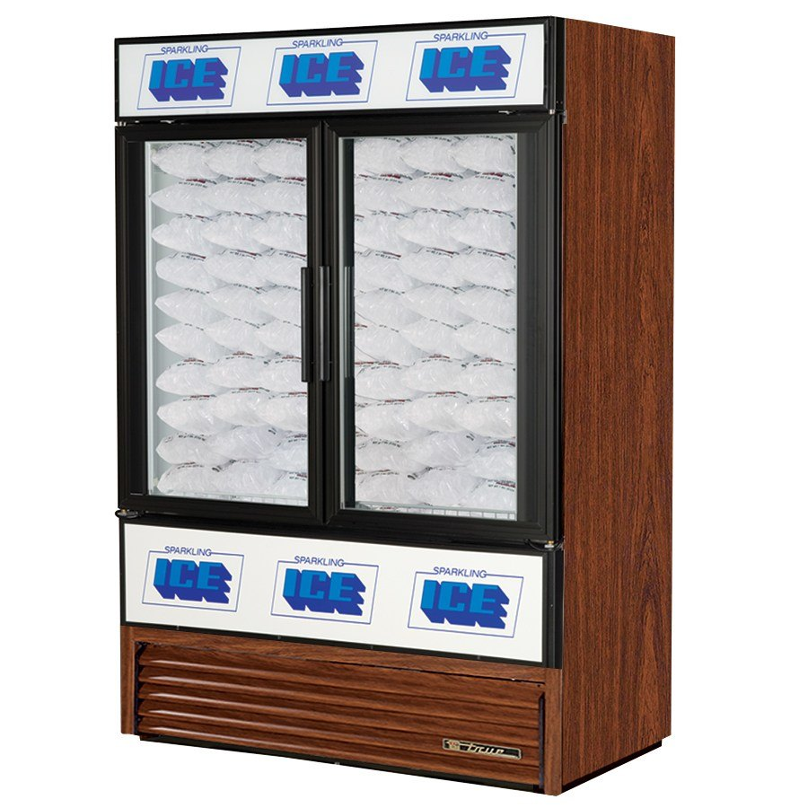 True GDIM-49NT Cherry Tankless Two Section Glass Door Ice Merchandiser - 49 Cu. Ft.