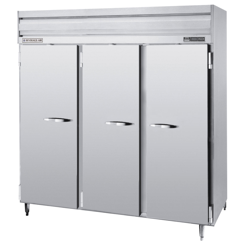 Beverage Air PRF48-24-1AS-02 3 Section Dual Temperature Reach-In - 70 cu. ft., Stainless Steel