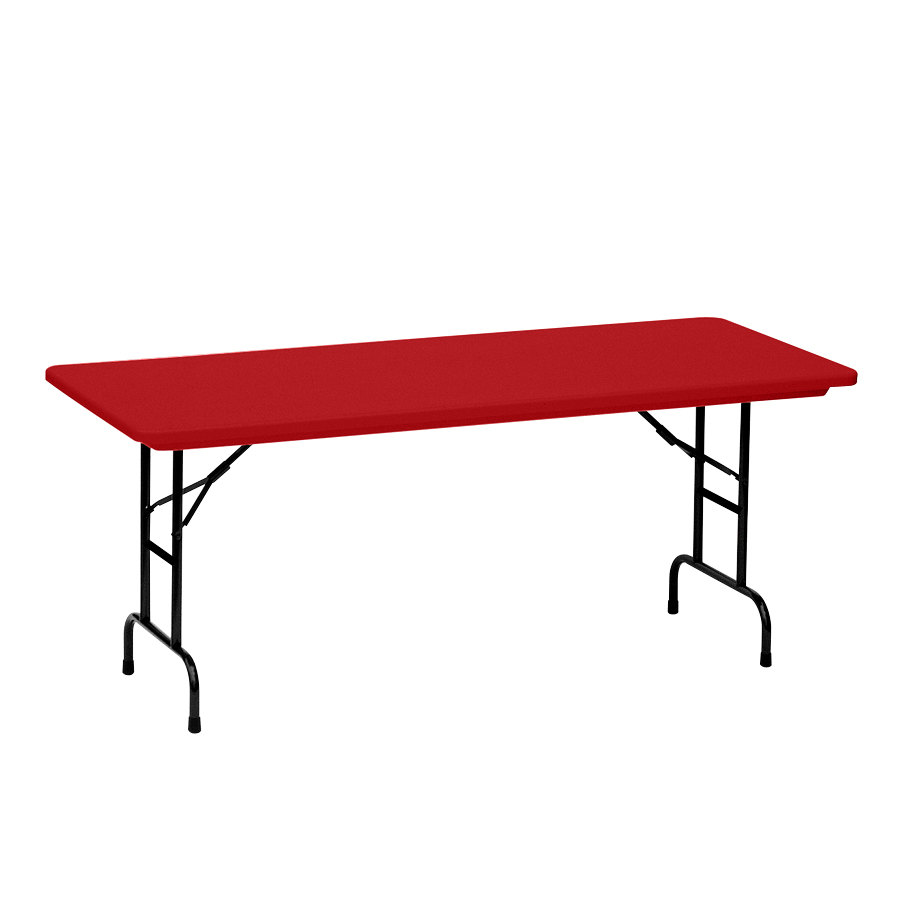 "Correll Adjustable Height Folding Table, 30"" x 72"" Plastic, Red - Standard Legs - R-Series RA3072"