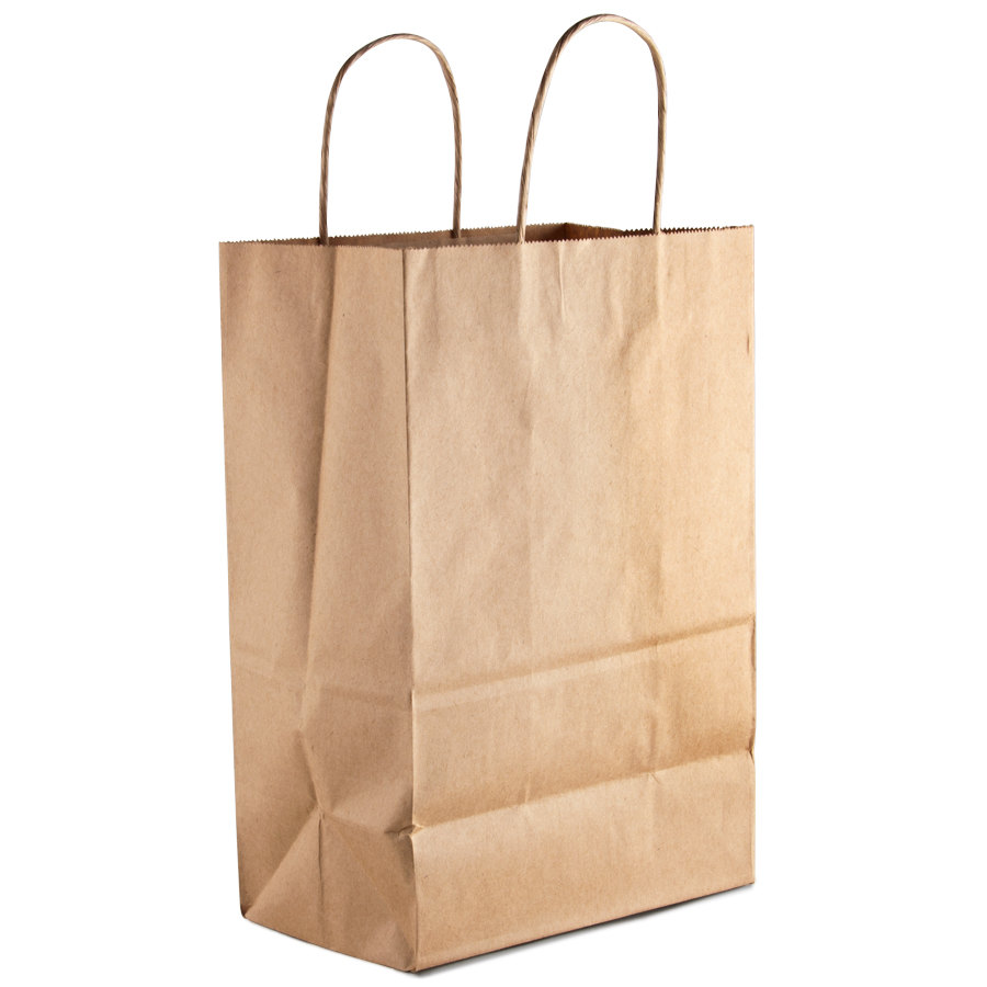 Brown Shopping Bag with Handles 9 inch x 6 inch x 13 inch 250/Case