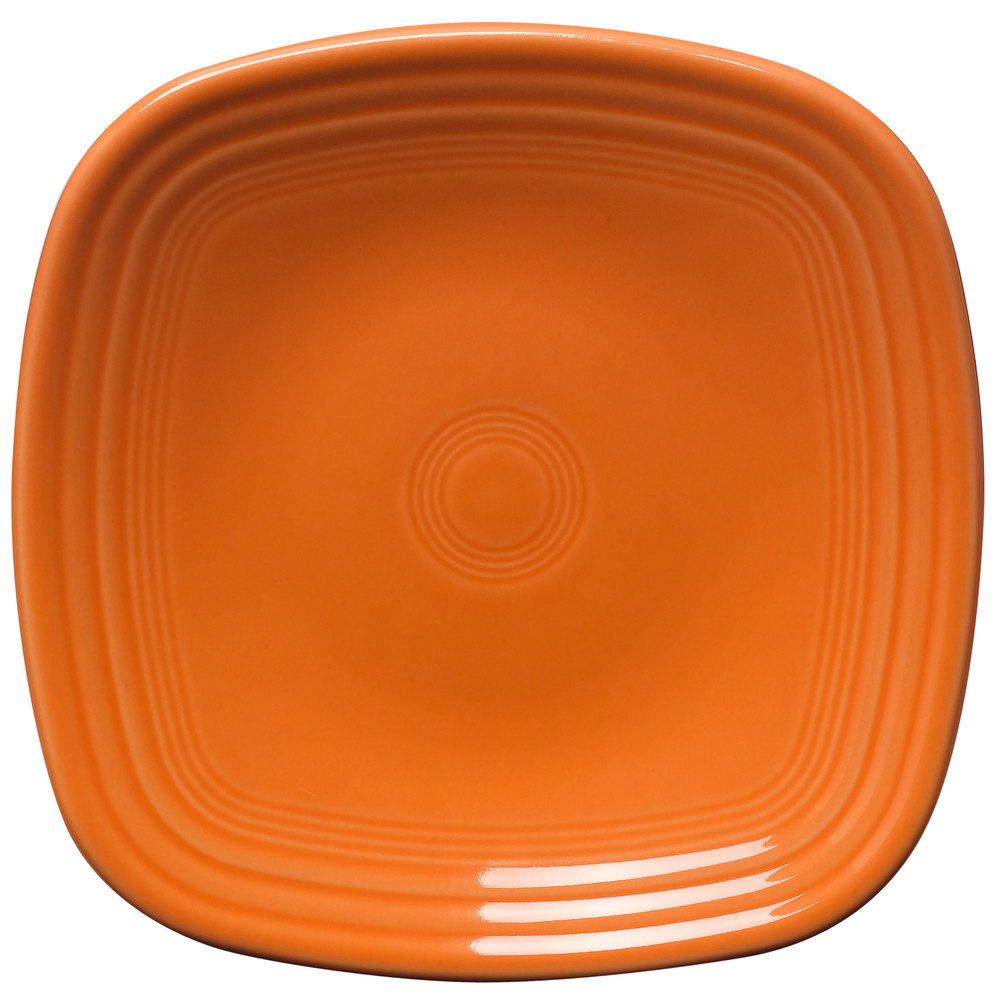 "Homer Laughlin 921325 Fiesta Tangerine 7 1/2"" Square Salad Plate - 12 / Case"