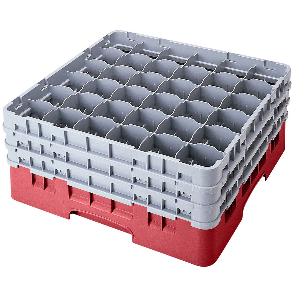 "Cambro 36S958416 Cranberry Camrack 36 Compartment 10 1/8"" Glass Rack"