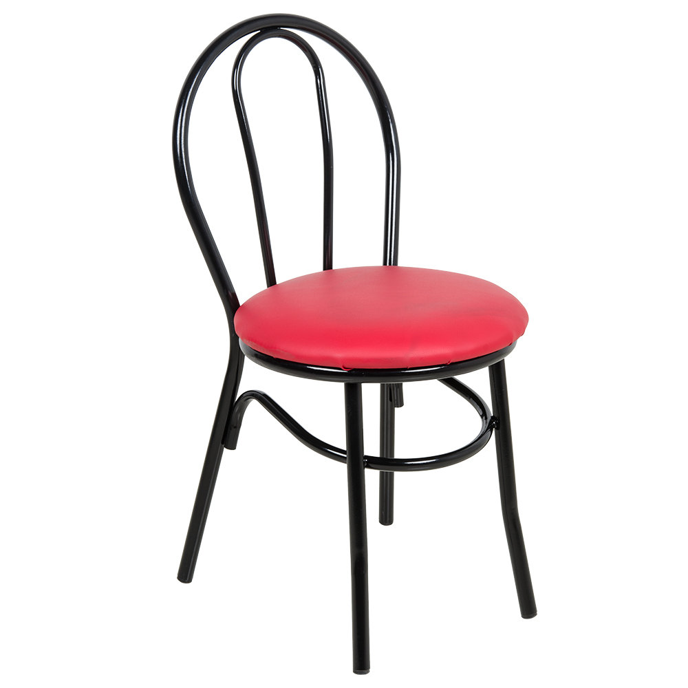 "Lancaster Table & Seating Red Hairpin Cafe Chair with 1 1/4"" Padded Seat"