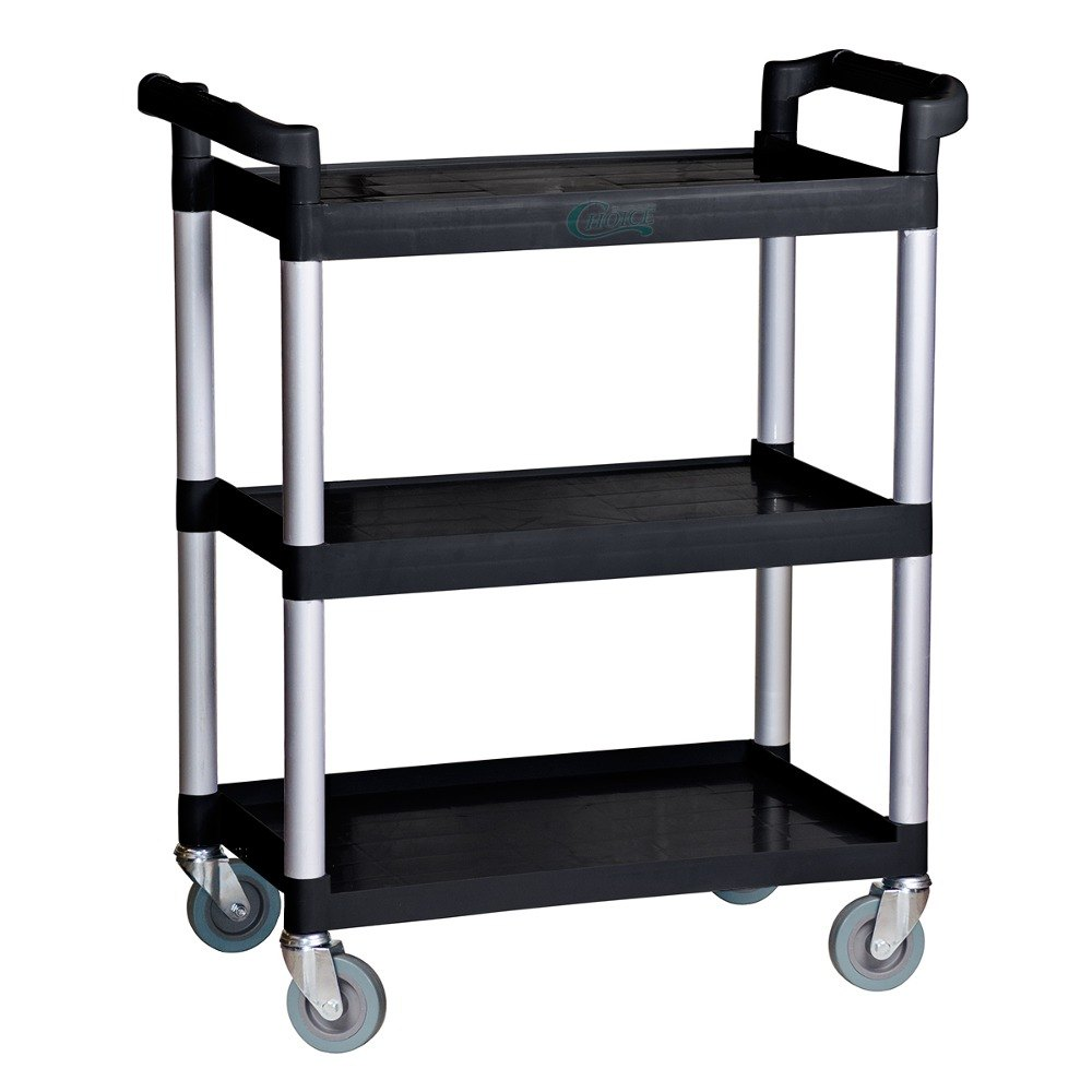 Choice Black Three Shelf Utility Cart / Bus Cart - 32 inch x 16 inch x 38 inch