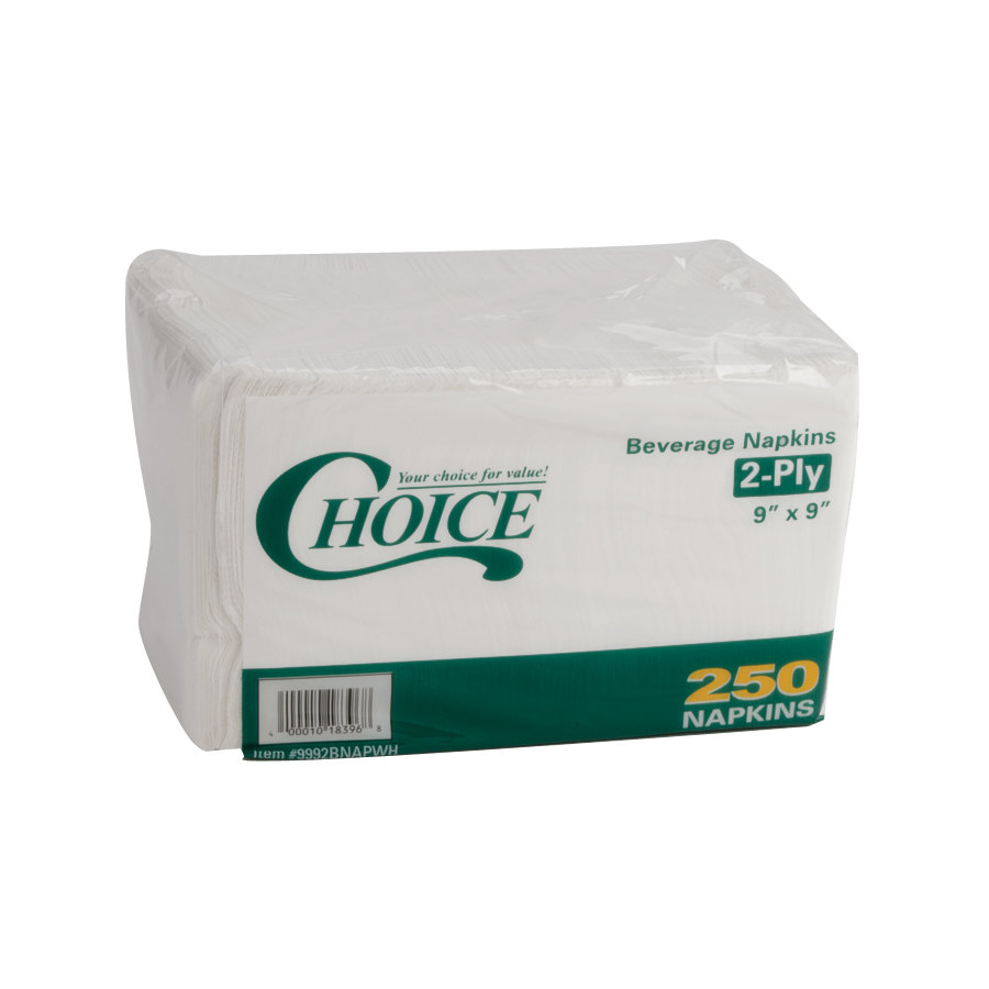 Choice 2-Ply White Beverage / Cocktail Napkin - 3000 / Case