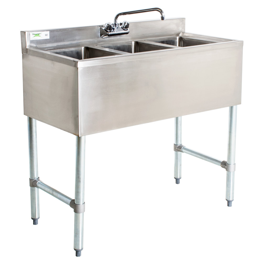 3 Faucet Sink : Regency 3 Bowl Underbar Sink with Faucet - 38 1/2