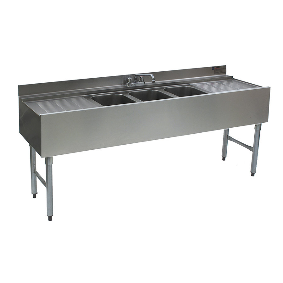 Eagle Group B6C-18 3 Bowl Bar Sink With Two 19 inch Drai