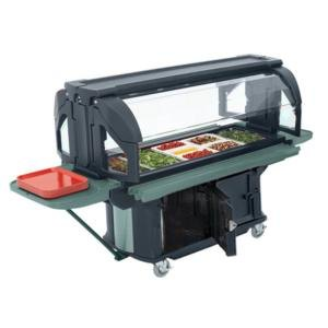 Cambro VBRUHD5186 Navy Blue 5' Versa Ultra Food / Salad Bar with Storage and Heavy-Duty Casters