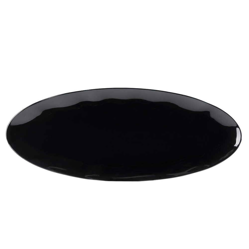 "24"" x 10"" Two Tone Black Pearl Melamine Oval Platter - 2/Pack"