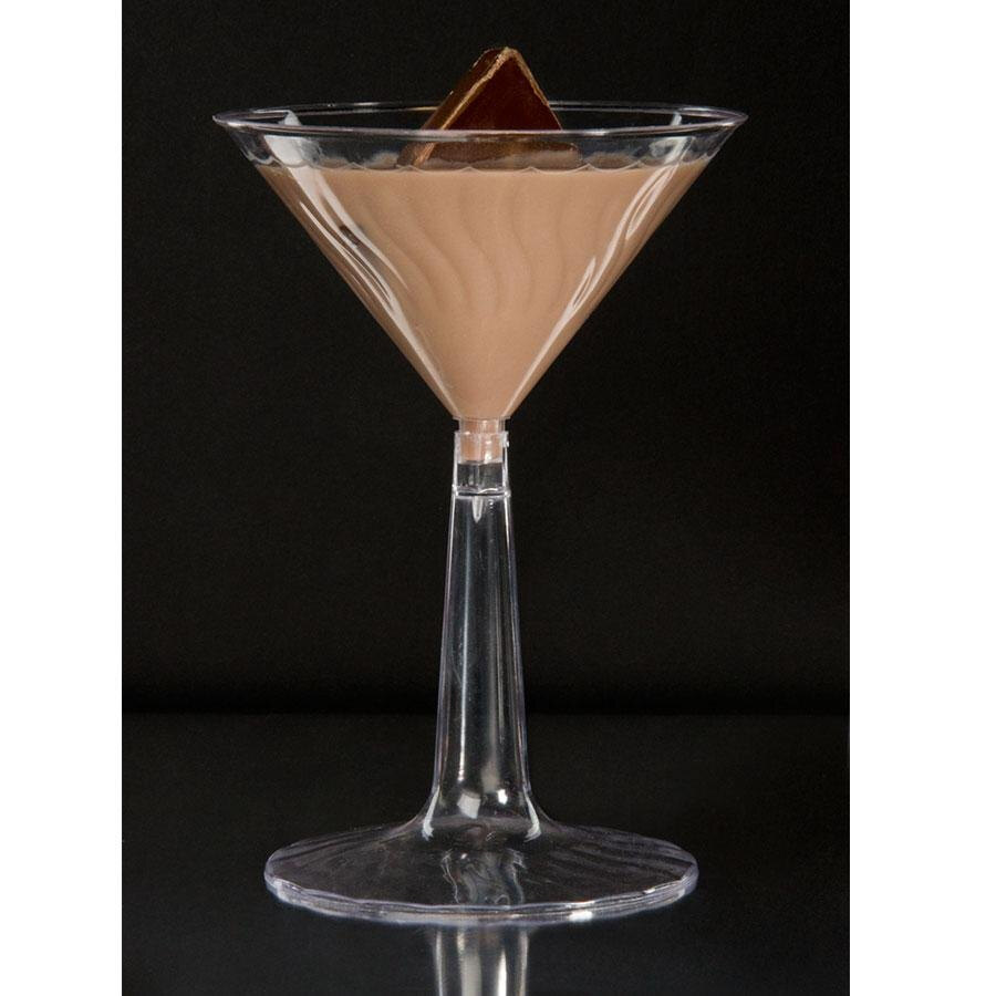 Fineline Flairware 6 oz. Plastic Martini with Clear Base - 2 Piece 12 / Pack