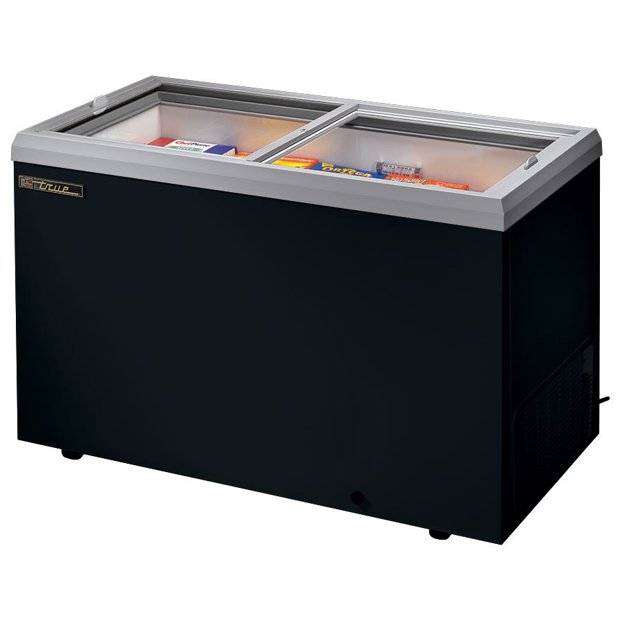 True TFM-51FL Black Flat Glass Lid Horizontal Freezer - 13.3 Cu. Ft.
