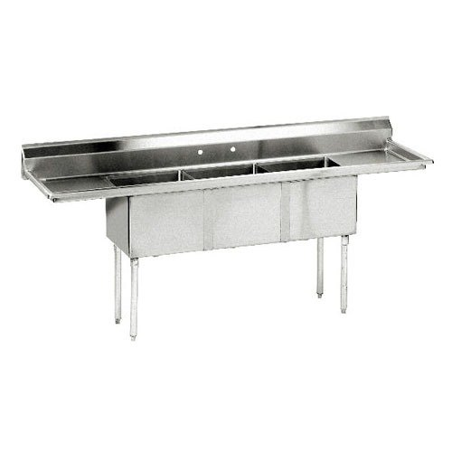 Advance Tabco FE-3-1014-15 Three Compartment Stainless Steel Commercial Sink with Two Drainboards - 60 inch
