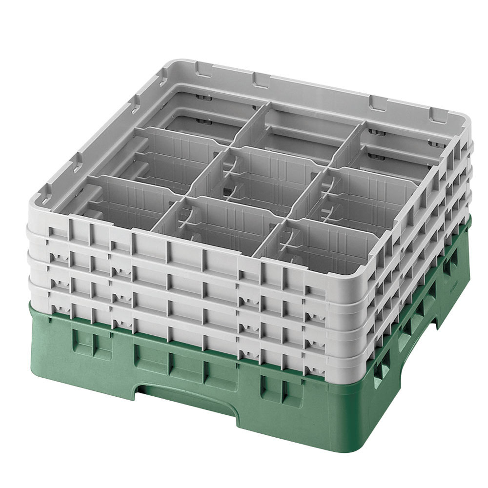 "Cambro 9S1114119 Sherwood Green Camrack 9 Compartment 11 3/4"" Glass Rack"