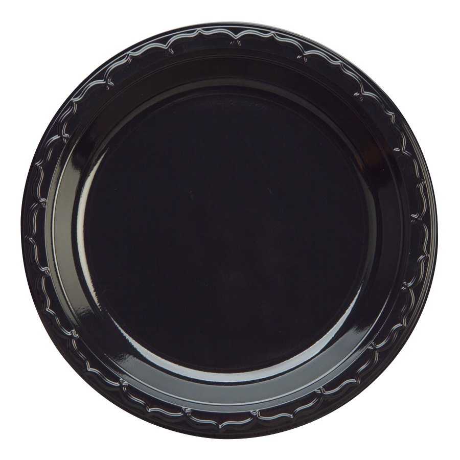 Genpak BLK07 7 inch Heavy Weight Black Plastic Plate 100 / Pack