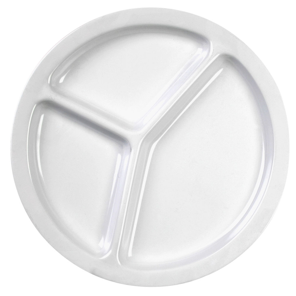 "Nustone White Melamine 3 Compartment Plate 10"" - 12/Pack"