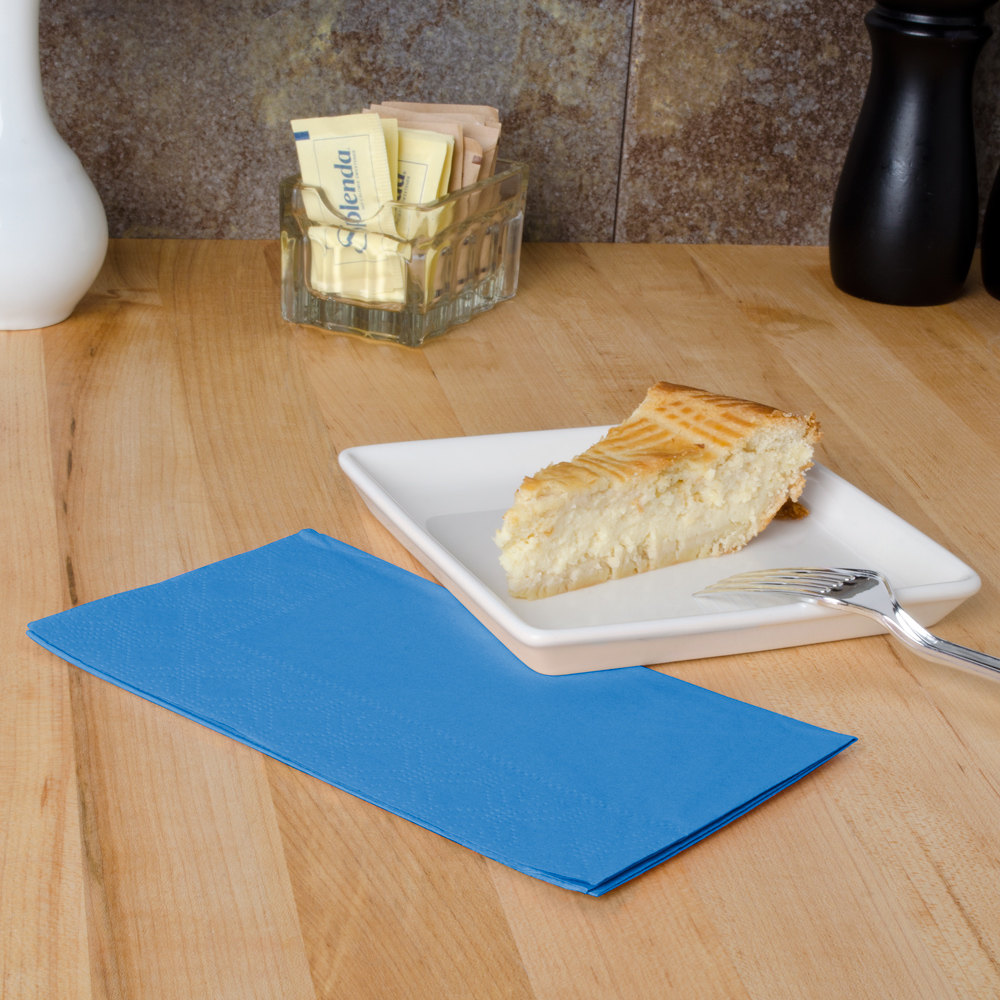 "Hoffmaster 180544 Marina Blue 15"" x 17"" Paper Dinner Napkins 2-Ply - 1000/Case"