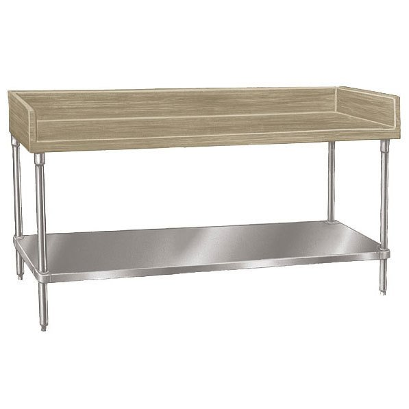 "Advance Tabco BG-366 Wood Top Baker's Table with Galvanized Undershelf - 36"" x 72"""