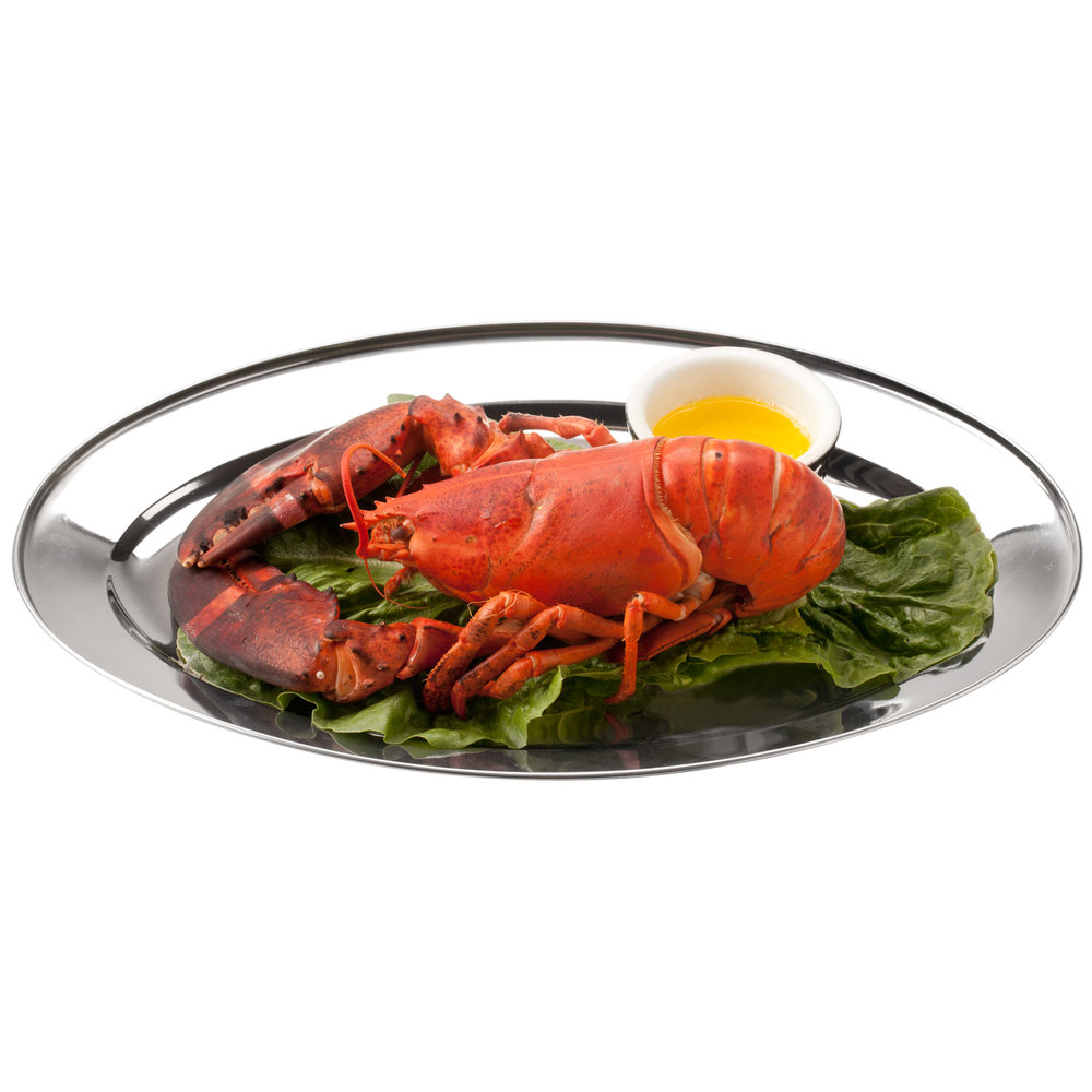 "25 7/8"" x 18"" Oval Stainless Steel Platter"