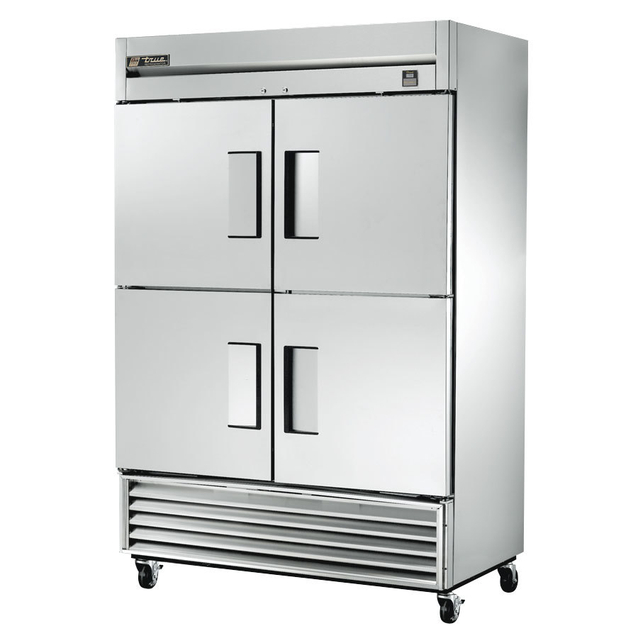 "True TS-49-4 54"" Stainless Steel Two Section Solid Half Door Reach In Refrigerator - 49 Cu. Ft."