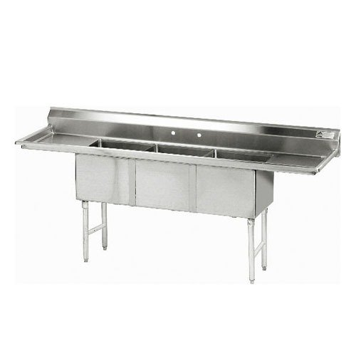 Advance Tabco FC-3-2030-20RL Three Compartment Stainless Steel Commercial Sink with Two Drainboards - 100 inch