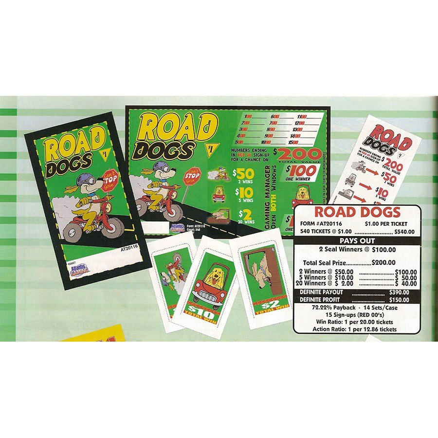 """""""Road Dogs"""" 1 Window Pull Tab Tickets - 540 Tickets Per Deal - Total Payout: $390 at Sears.com"""