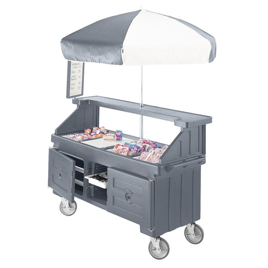 Cambro Camcruiser CVC72191 Granite Gray Vending Cart with Umbrella and 3 Counter Wells