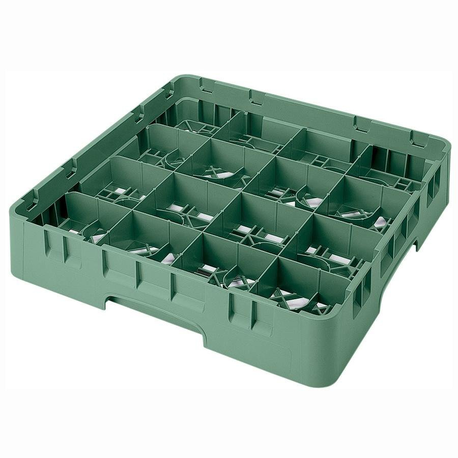 "Cambro 16S434119 Camrack 5 1/4"" High Sherwood Green 16 Compartment Glass Rack"