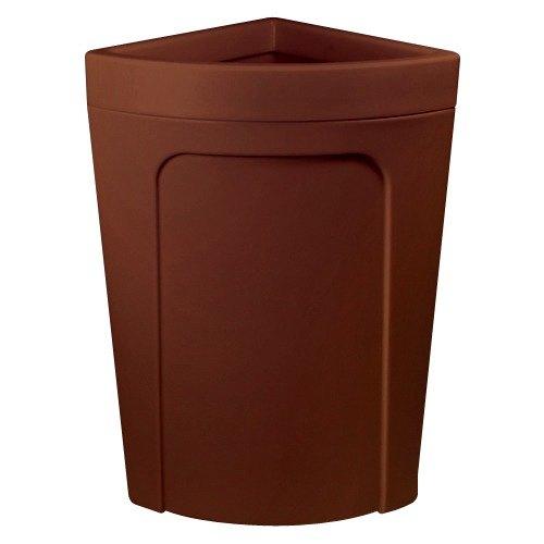 Continental 8324bn corner 39 round 21 gallon brown corner trash can rim type - Corner wastebasket ...