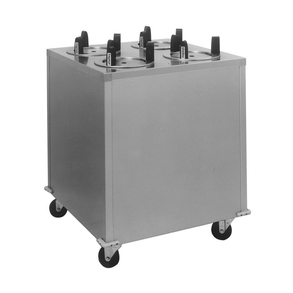 "Delfield CAB4-1013QT Quick Temp Mobile Enclosed Four Stack Heated Dish Dispenser / Warmer for 9 1/8"" to 10 1/8"" Dishes - 208V"