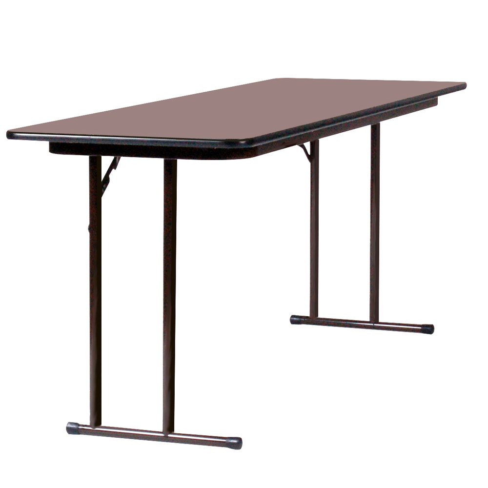 correll st2460px01 24 x 60 walnut 3 4 high pressure folding seminar table. Black Bedroom Furniture Sets. Home Design Ideas