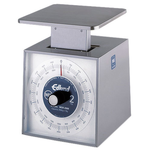 "Edlund MSR-2000 2000 g Stainless Steel Metric Portion Scale with 6"" x 6 3/4"" Platform"