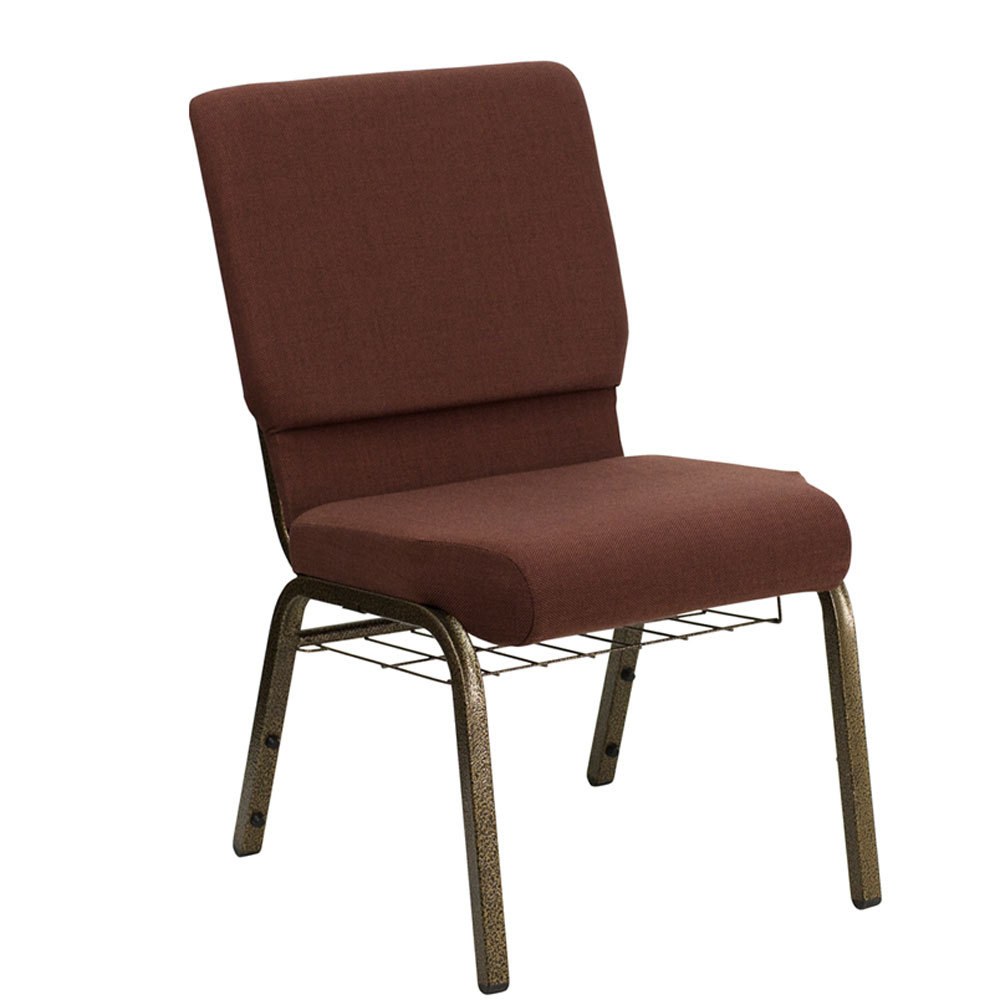"Brown 18 1/2"" Wide Church Chair with Communion Cup Book Rack - Gold Vein Frame"