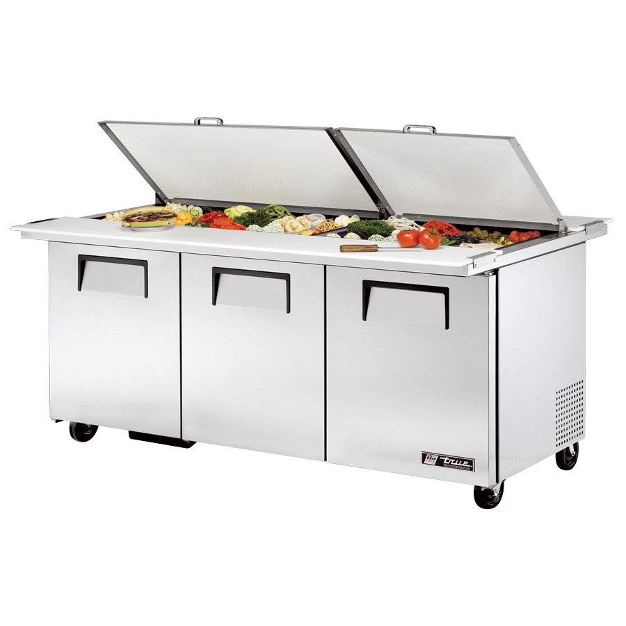 True TSSU-72-30M-B-DS-ST 72 inch Mega Top Dual Side Three Door Sandwich / Salad Prep Refrigerator - 30 Pans