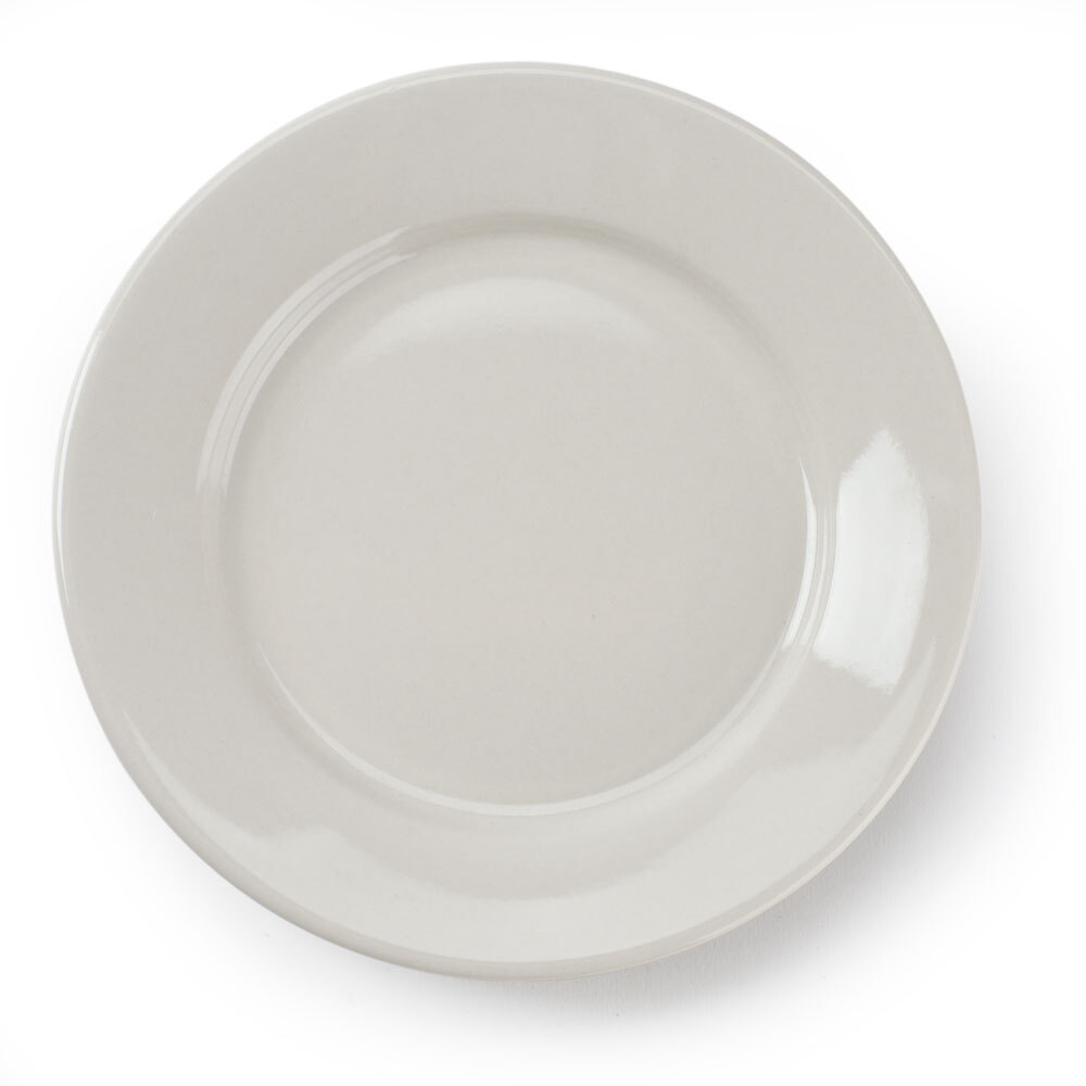 Wide Rim 7 1/8 inch American White (Ivory / Eggshell) Rolled Edge China Plate - 12 / Pack