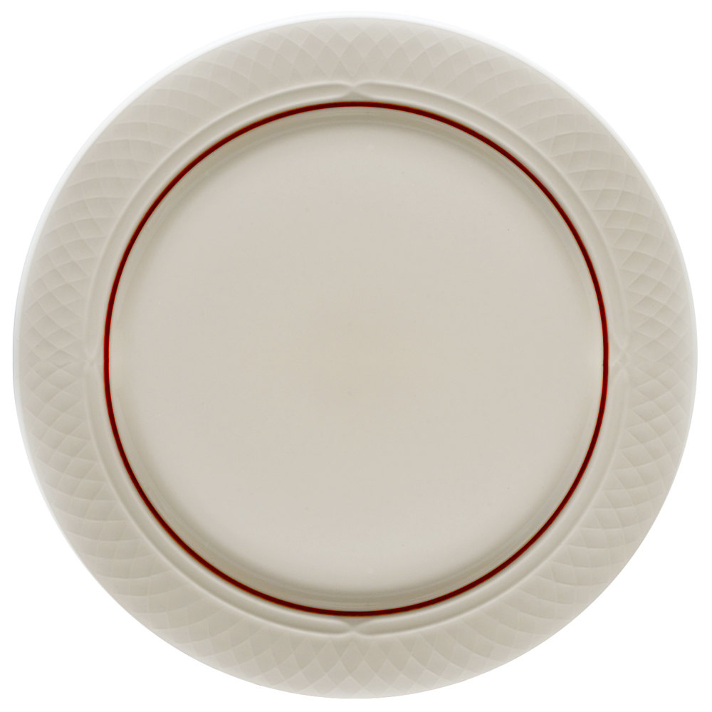 "Homer Laughlin 1492-0333 Gothic Red Jade 10"" Off White Mid Rim Plate - 24/Case"