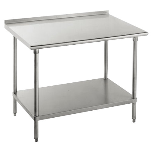 "14 Gauge Advance Tabco FSS-307 30"" x 84"" Stainless Steel Commercial Work Table with Undershelf and 1 1/2"" Backsplash"