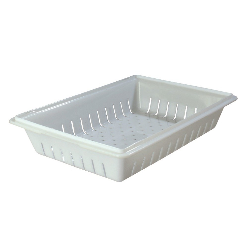 "Carlisle 1064802 18 ""x 26"" x 5"" White Food Box Deep Drain Tray"