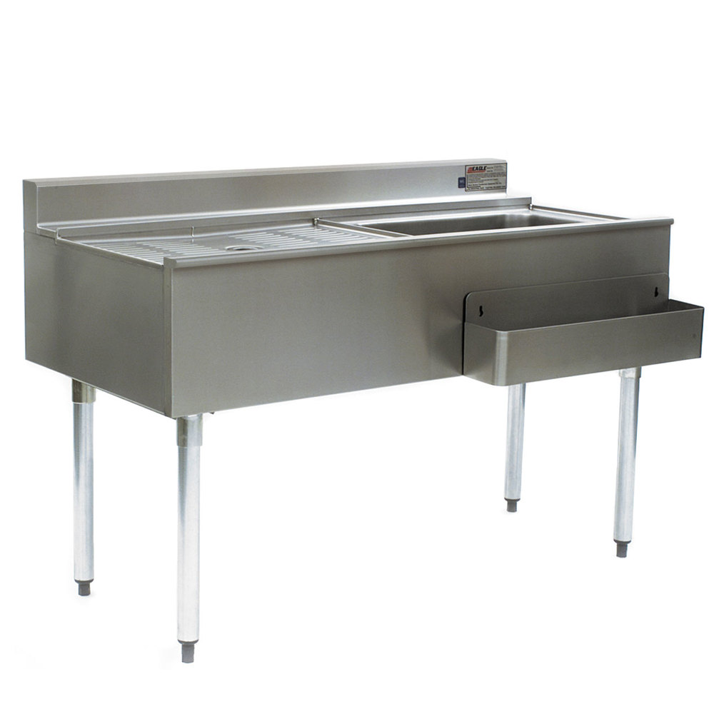 "Eagle Group CWS4-18R-7 48"" Underbar Work Station with Right Mount Ice Bin, Drain Board, and Cold Plate"