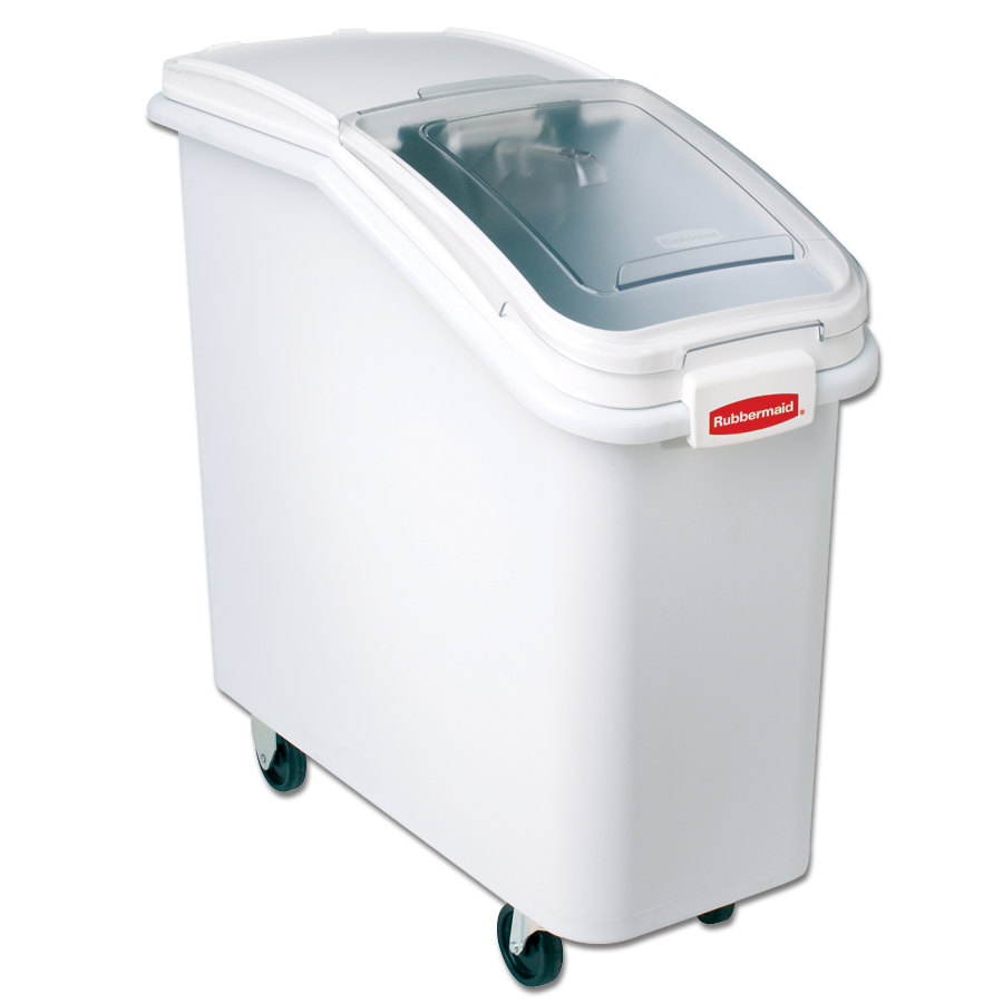 Rubbermaid FG360088WHT ProSave 25 Gallon Ingredient Storage Bin - Slant Front with Sliding Lid