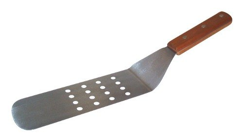 8 inch x 3 inch Perforated Blade Turner - Wood Handle