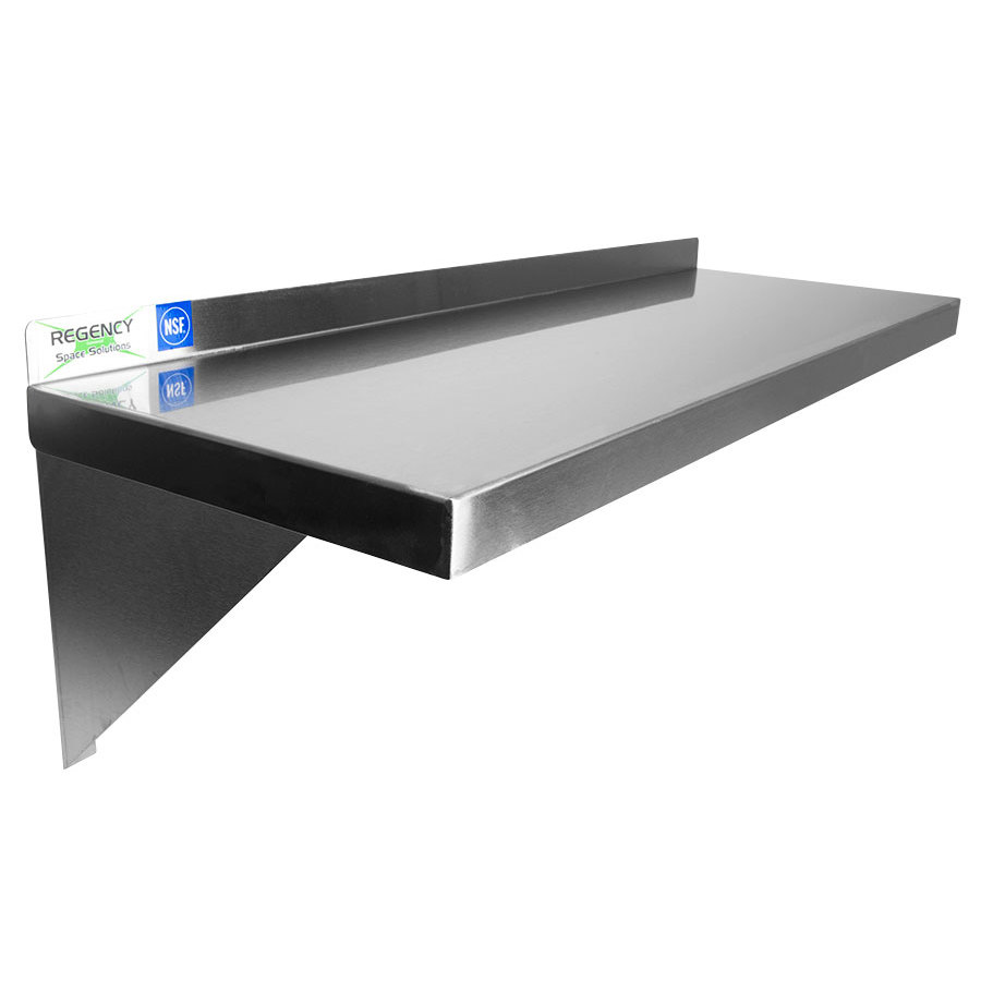 Regency 16 Gauge Stainless Steel 12 inch x 60 inch Heavy Duty Solid Wall Shelf