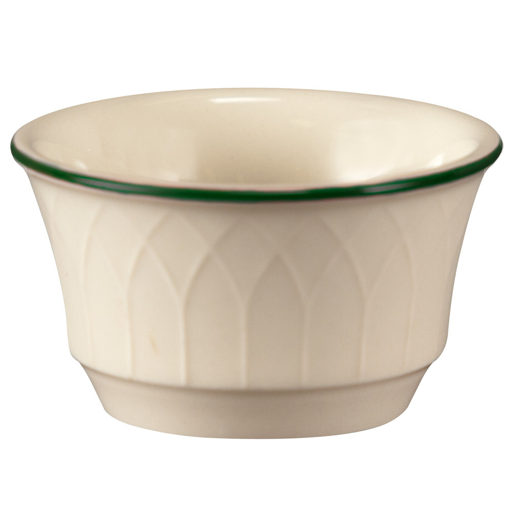 Homer Laughlin 1430-0146 Green Jade Gothic 3.5 oz. Ramekin - Off White 36 / Case